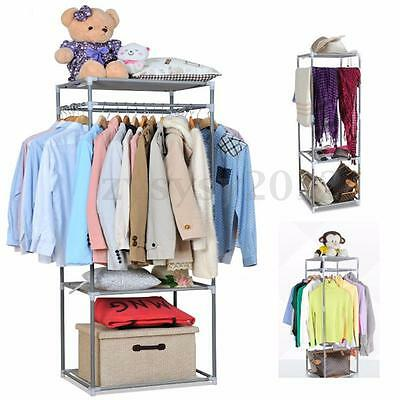 3Tier Clothes Rail Garment Coat Dress Hanging Display Stand Shoe Towl Rack Scarf