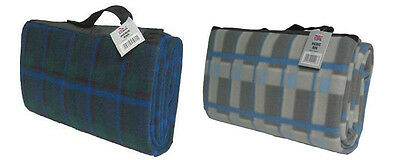 Picnic Rug Blanket Tartan Green Blue Warm Cosy Food Travel Waterproof Outdoors