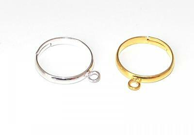 5 SILVER / GOLD PLATED ADJUSTABLE JEWELLERY CRAFT RING FINDINGS PADS - 3mm LOOPS