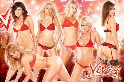 VIVID VIDEO POSTER ~ GIRLS RED LINGERIE 24x36 Pinup Sunny Leone Monique Alexandr