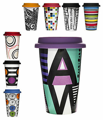 Sagaform Porcelin Mug Double Wall Insulated Takeaway Travel Cup + Silicone Lid