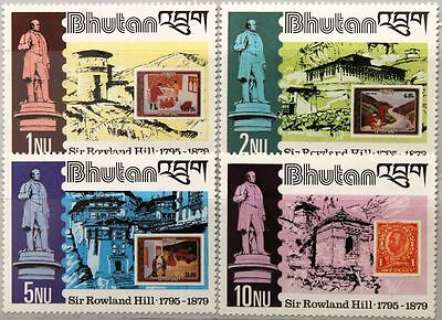 BHUTAN 1980 744-47 A Block 84 A 305-309 100 Todestag Rowland Hill Stamp on Stamp