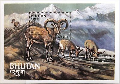 BHUTAN 1984 Block 104 S/S 419 Fauna Tiere Blauschaf blue Sheep Animals MNH