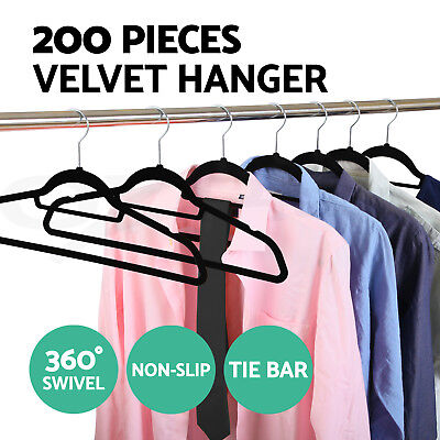 Coat Hangers Flock Velvet Nonslip Coat Clothes Closet Tie Bar Slim Thin 200