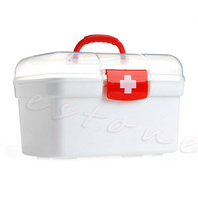 Double Layers Clear Health Pill Medicine Chest First Aid Kit Handle Storage Box