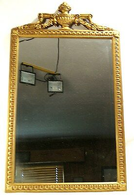 Antique Grecian Urn Rectangular Carved Wood Frame Ornate Wall Mantle Mirror