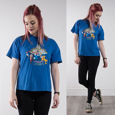Walt Disney World Blue Crew Neck T-Shirt Top Retro Womens Casual Oversize 12