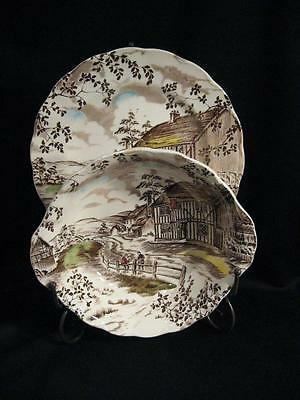 Grindley England Dickens Coaching Stages Vegetable Serving Bowl And Dinner Plate