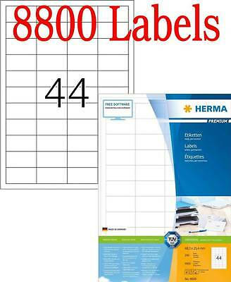 New HERMA A4 Premium 48mm x 25mm Laser Inkjet Multi Use 8800 Sticky Labels 4608