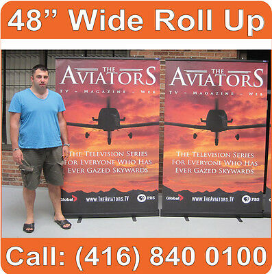 """BLACK 48"""" WIDE Roll Pop Up Retractable Banner Stand"""