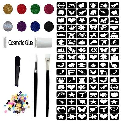 Glitter Tattoo Kit 22 - Princess And super Hero 96 Stencils 8 Glitter Gem Glue