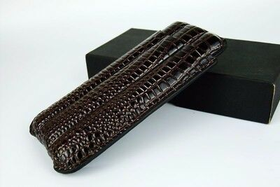 Cigar Travel Case Holder 3 Tube Brown Leather Croco Gift