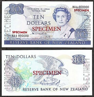 New Zealand - 1981-5 10 Dollar. P.172as. Sig Hardie. Type 2 Specimen. UNC.