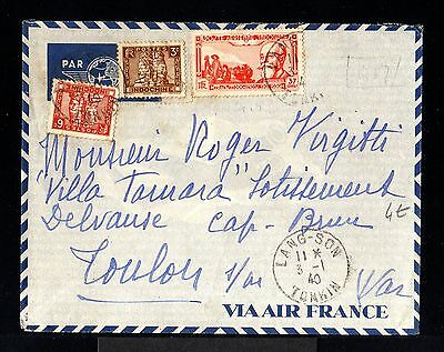 9014-INDOCHINA-AIRMAIL COVER LANG-SON to TOULON (france)1940.WWII.AERIEN.Vietnam