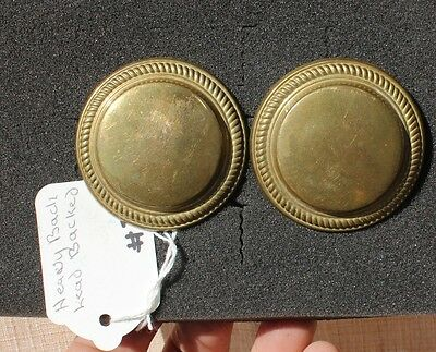 """31-44 - Pair USA very early heavy 2 1/4""""  lead backed rosettes LARGE BRASS"""