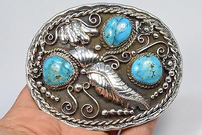 Navajo Signed .925 Silver Kingman Turquoise Scalloped Belt Buckle United States