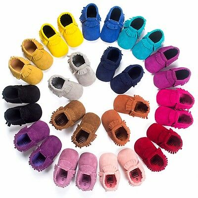 Baby comfortable Sole suede/Leather Shoes Infant Boy Girl Toddler Moccasin 0-18
