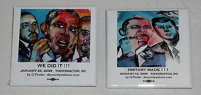 "Barack Obama ""WE DID IT!"" and ""HISTORY MADE!"" 2009 Election Pins Demont Peekaso"