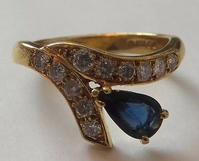 Vintage Pear Cut Sapphire and Diamond Ring 18ct Yellow Gold SIZE O