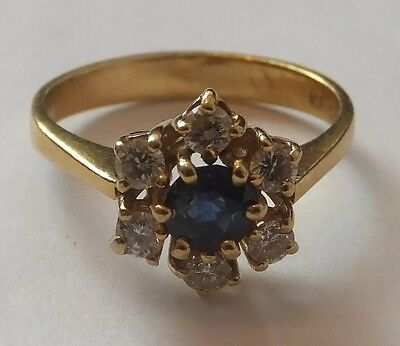 Vintage Sapphire and Diamond Ring 18 Carat Gold Daisy Cluster