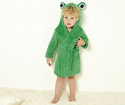 NEW 9-12 MONTH girl boy GREEN FROG HOODED BATH ROBE DRESSING GOWN BABY xmas gift