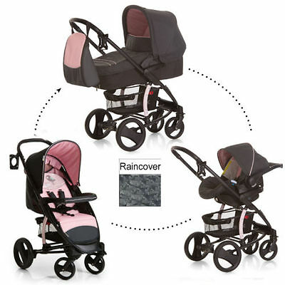 NEW Hauck Malibu XL Trio Travel System Pushchair Pram Carseat set Birdie Pink