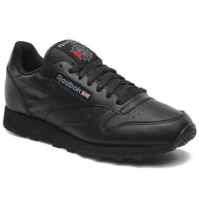 Reebok Classic Leather Black Black Mens Trainers