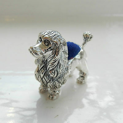 Sterling Silver & Garnet Pin Cushion in Shape of Poodle Dog Hallmarked