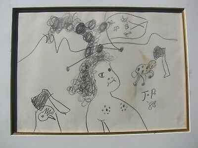 """John Perceval Australian Pencil """"girl With Animals And Axes"""" 1988"""
