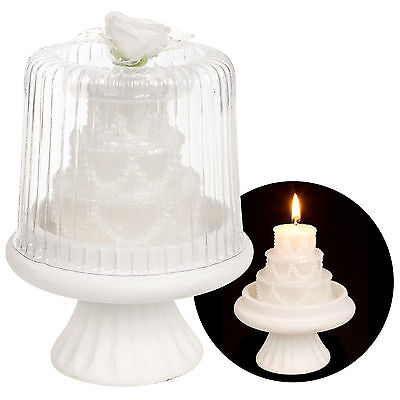 Luxury White Tiered Wedding Cake Candle Topper On Stand Table Center Piece Decor