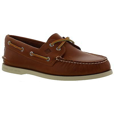 Sperry Top Sider A/O 2 Eye Mens Brown Tan Leather Deck Boat Shoes Size UK 8-11