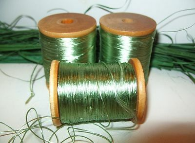 "3 Vintage Wooden 2"" Spools Celadon Green Silk Thread Floss Cord Sewing Supplies"