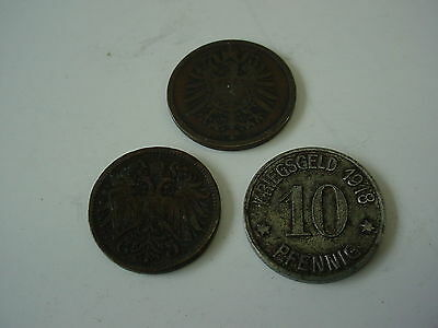Lot of 3 German Germany Coins 1874 to 1918