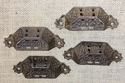 4 Bin Drawer Pulls handles perforated rustic old primitive lattice vintage iron