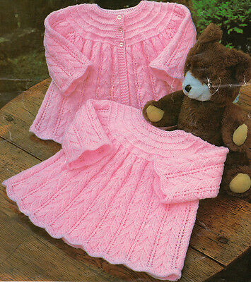 """Pretty Scalloped Edge Baby Matinee Coat & Dress ~ DK & 4 Ply 16"""" ~ 20"""" To Knit"""