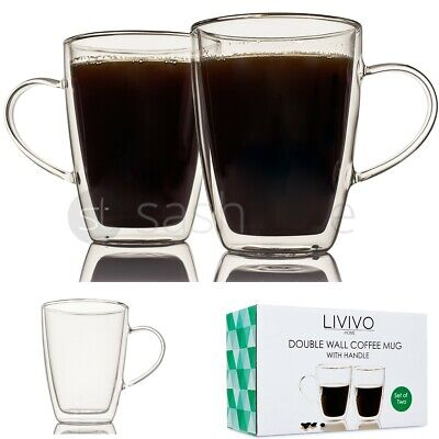 2x 300ML DOUBLE WALL THERMO GLASS LATTE TEA COFFEE DRINK CAPPUCCINO CUP MUGS NEW