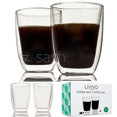 LIVIVO 2 x DOUBLE WALL THERMO GLASS LATTE TEA COFFEE DRINK CAPPUCCINO CUPS MUGS