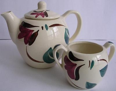 Purinton Pottery Vintage Red Blossom & Ivy Pattern Teapot & Sugar
