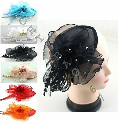 Tulip Fascinator Hair Clip Feather Bridal Hat Race Party Aliceband Royal Ascot