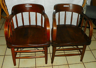 Pair of Solid Oak Firehouse Captain Chairs / Armchairs by Mariette Ohio  (AC67)