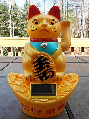 """8.5""""Large Chinese Good Luck Waving Hand Paw Up Kitty Cat Power Solar( Plastic )"""