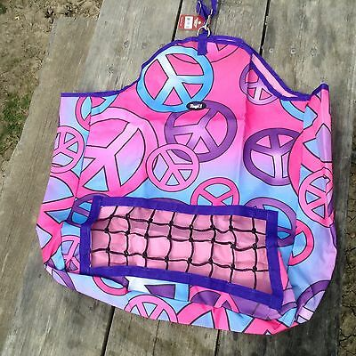 Candy peace print nylon horse hay carrier bag w/slow feed net front