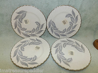 Syracuse China USA Dawn pattern 4 Bread Butter Plates Gray Leaves swirled