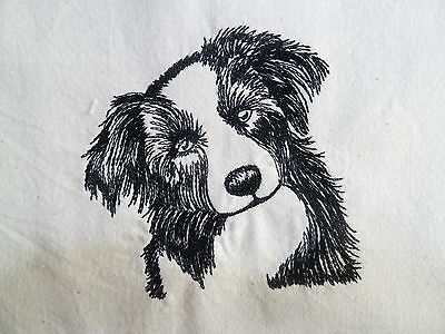 Border Collie - Machine Embroidered Fabric