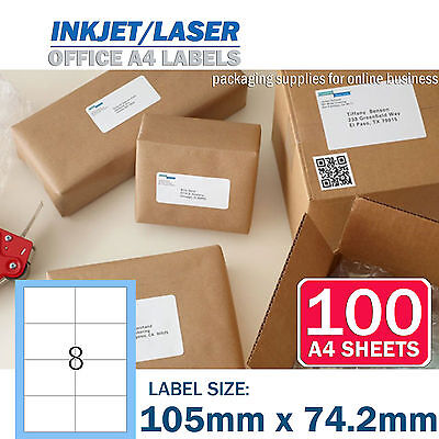 100 x 8 up 105 x 74.2mm Peel & Paste Label A4 Office Mailing Address label - 8UP