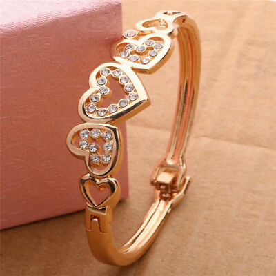 New Fashion Women Lady Gold Plated Crystal Cuff Bangle Love Heart Charm Bracelet