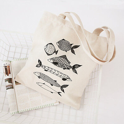 Zipped White Cotton Canvas Shopping Tote Carrying Shoulder Bag Fishes Q01 B#