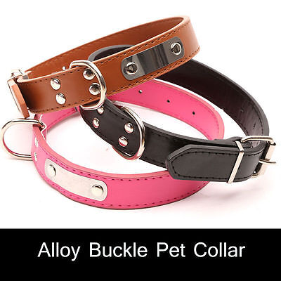 Adjustable Dog Collar Small Pet Cat Puppy Neck Strap PU Leather Buckle Safety