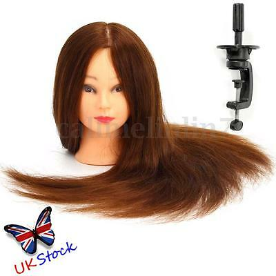 24'' 100% Real Human Hair Hairdressing Training Practice Head Mannequin Clamp UK