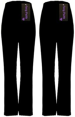 Lucy Faith Ladies Pack Of 2 Finely Ribbed Bootleg Stretch Trousers Sizes 10-26